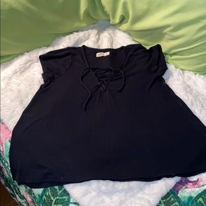 Hollister Tee with lace up front good condition